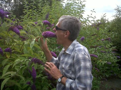 David tries to swallow a lilac bloom!