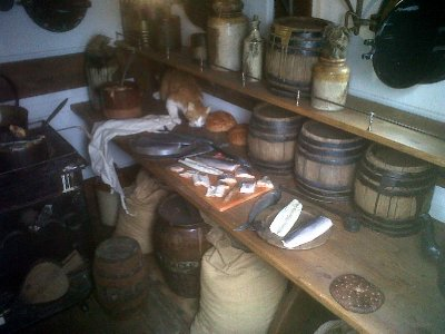 The ship's galley provided very little food to steerage passengers, who had to bring most provisions with them. First class passengers ate at the captain's table. That evening we caught the overnight ferry to Cherbourg.