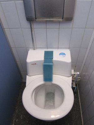 Sandi was fascinated by this automated self-cleaning toilet seat at the cheese factory