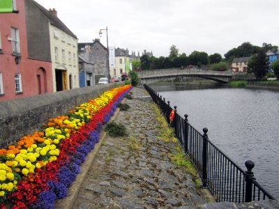 Flower beds along the river.