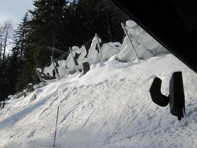 Barriers to catch the snow along the pass