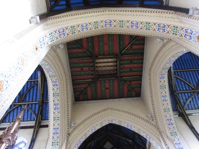 The painted ceiling of the bell tower