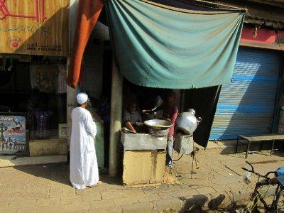 Breakfast falafel on the streets.