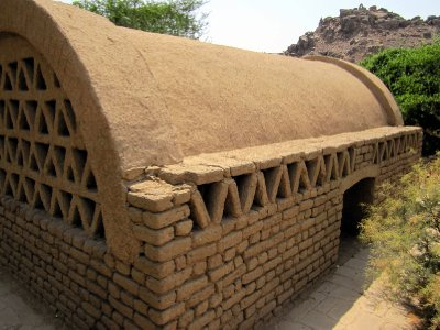 An interesting mud-brick storeroom near the temple.