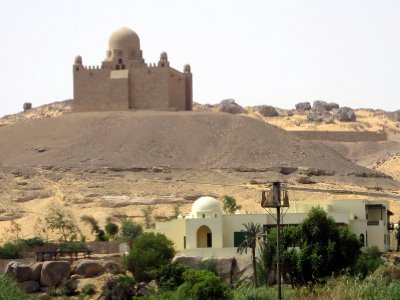 The Mausoleum of Aga Khan on the sand-dunes of the west bank.
