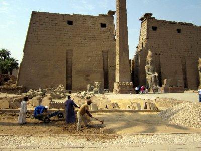 The large entrance pylon built by Ramses ll.