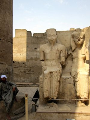 Statues of Amun and Mut.