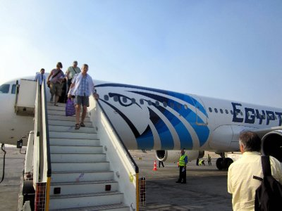 We flew with Egyptair, which has the head of Horus as its insignia.