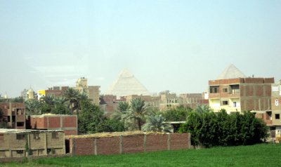 Our first glimpse of the pyramids.