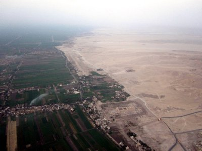 One can clearly see where the fertile land ends and the desert begins.