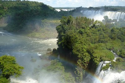 Waterfalls and rainbow