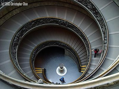 A Michelangelo designed staircase in the Vatican Museum