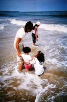 On the beach with my daughters
