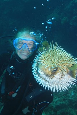 Abby with puffer fish