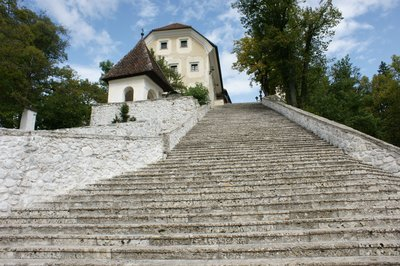 Steps of island on lake bled