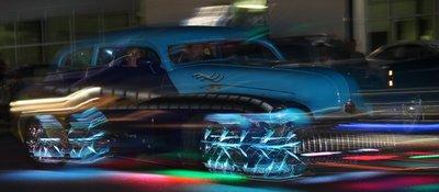 car in light parade