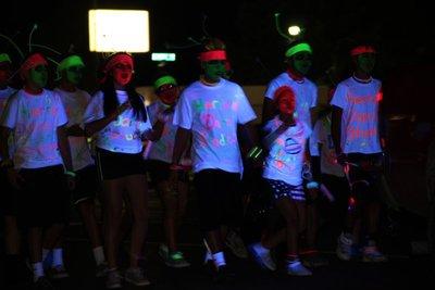 kids in light parade