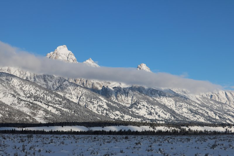 Tetons with cloud cover