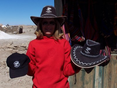 Sharks hats on sale in the middle of the Salt Flats
