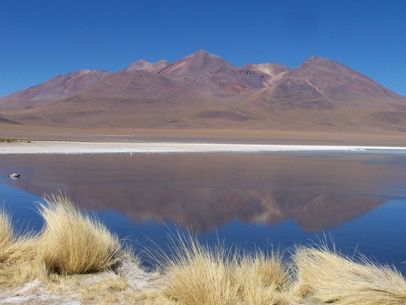 Semi frozen lakes rich in borax mineral