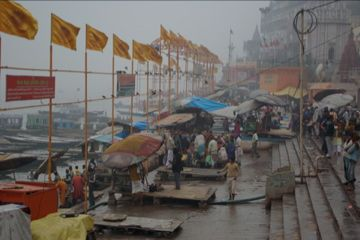 flags for prayers at varanasi