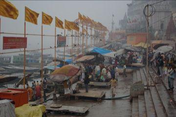flags for prayers at varanasi