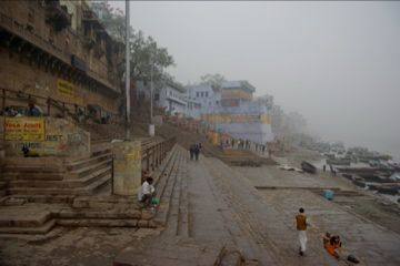 foggy banks at varanasi