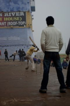 cricket on ganges banks at varanasi