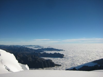 Looking down at the sea of cloud