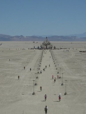 Burning Man 2008 - view of the Temple from the top of the Man