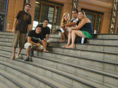 Fernando, Leandro, Luiz Felip, me, Thiago and Fabiana in the old train station