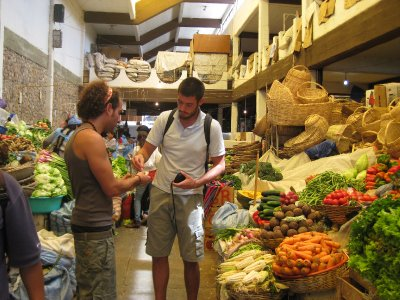 Josh and Yoni in the food market