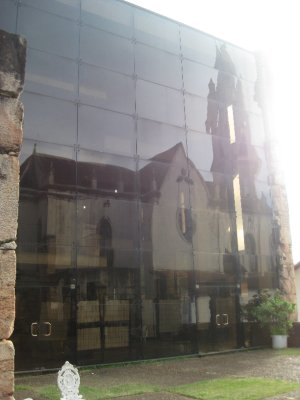 Reflection of the Church in the library windows