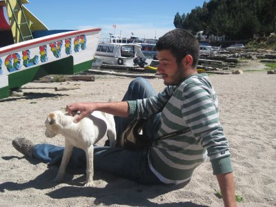 Josh and beach dog