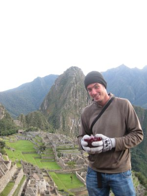 Josh and our Marks and Spencers CHRISTMAS PUDDING at Machu Picchu (don't ask!) - this must be a first!