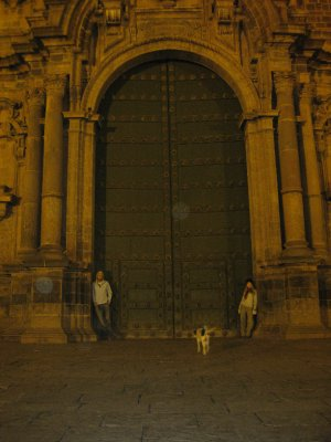 Arty! at the huge doors of the Cathedral! And a random dog too