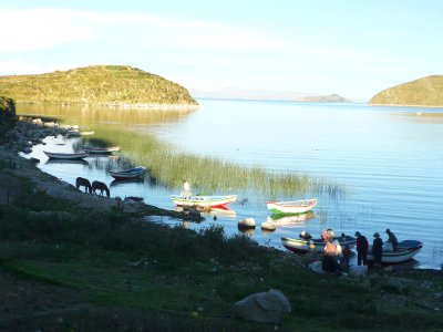 Boats on Isla del Sol