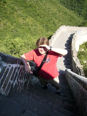 590 China Beijing - me getting to the top of the great wall
