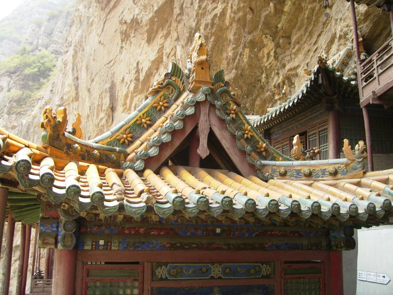615 China Datong - The roof detail at the hanging Monastery