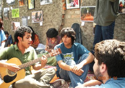 An impromptu jam session on the street of Calcutta, India