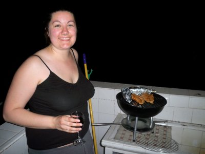 Megan with the new barbecue
