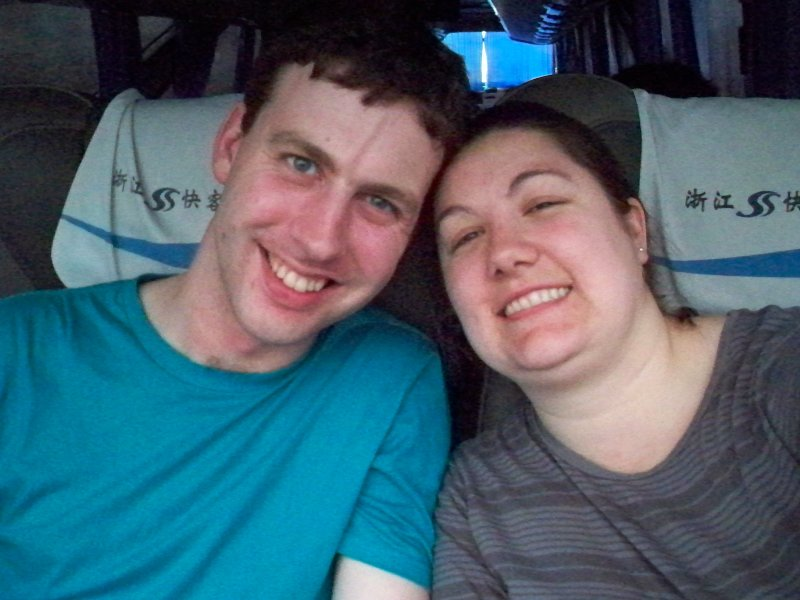 Bill and Megan on the bus to Hangzhou