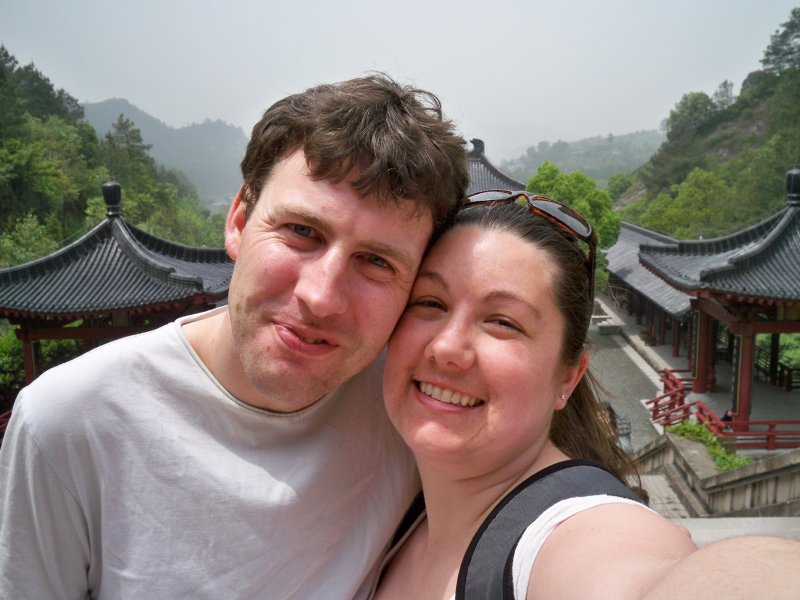 Bill and Megan outside the temple