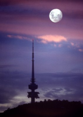 Black Mountain Tower and Moon