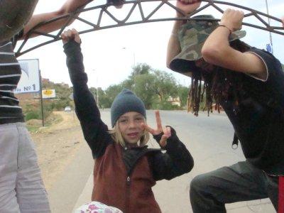 Jordan hanging from truck
