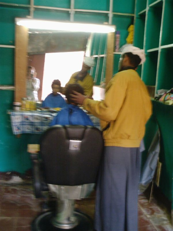 local hairdresser in nubian village