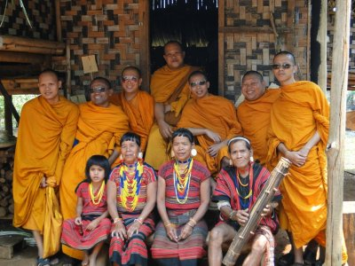 Cool Thialand monks on holiday in Laos