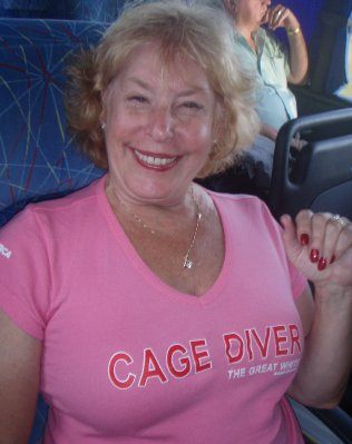 Souvenir shirt after cage-dive with great white sharks inGansbaai