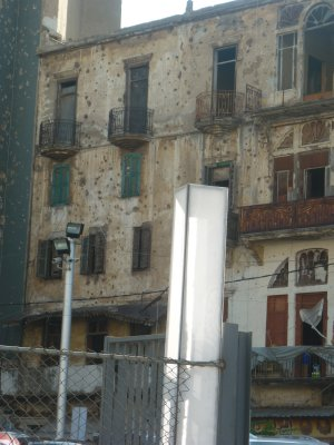 Bullet holes on the wall, Beirut