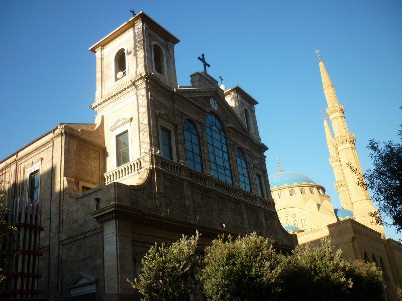 Church next to a mosque